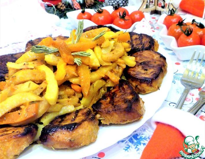 Рецепт: Запеченные овощи с медальонами из индейки