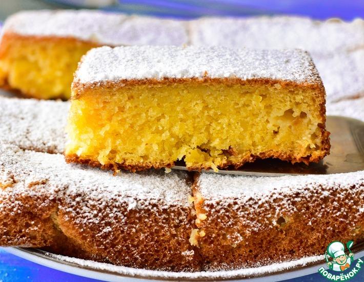 Рецепт: Заливной пирог с яблоками
