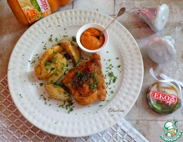 Рецепт: Запечённые куриные бёдра с ароматным картофелем