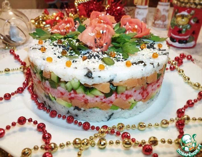 Рецепт: Новогодний салат Суши с лососем