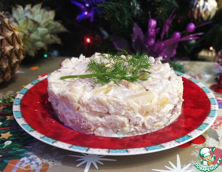 Рецепт: Салат из индейки с ананасами
