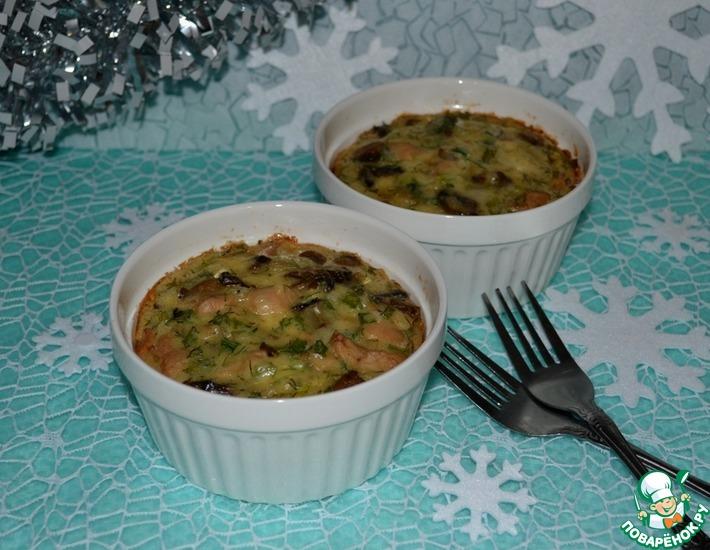 Рецепт: Порционная горячая закуска Куриный кекс-гратен
