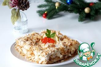 Рецепт: Закусочный торт Наполеон с печенью трески