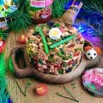 Салат с печёной фасолью и баклажанами