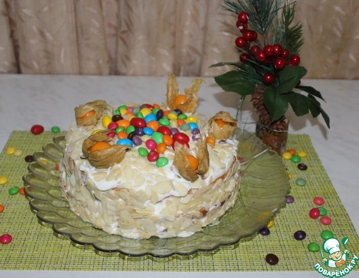 Рецепт: Торт сметанник с мандариновым джемом