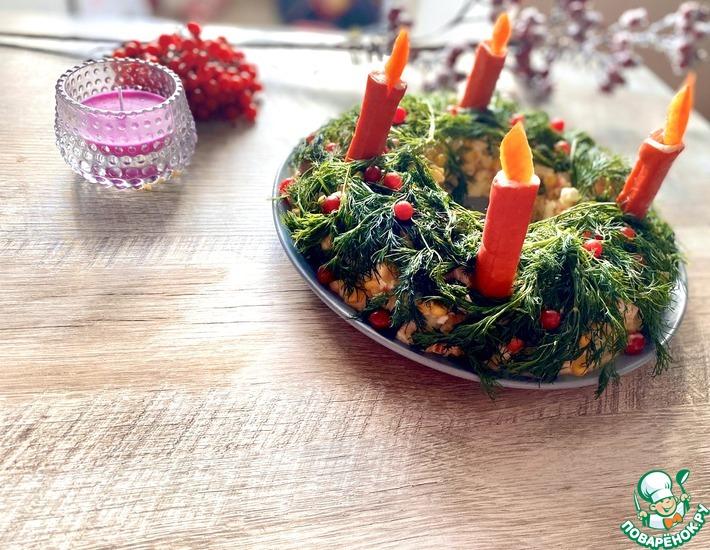 Рецепт: Салат с креветками и мидиями