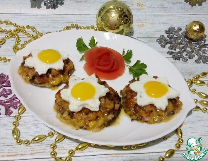 Рецепт: Фаршированные грибные шляпки с яйцом