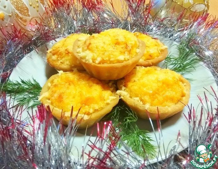 Рецепт: Тарталетки с сырно-луковой начинкой