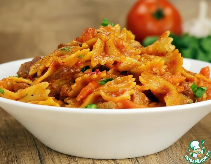 Рецепт: Макароны с мясом в сковороде