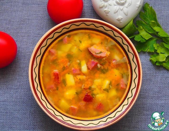 Рецепт: Суп из красной чечевицы с копченостями