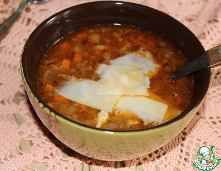Рецепт: Овощной суп с чечевицей и пармезаном