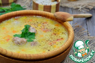 Рецепт: Суп кукурузный с фрикадельками