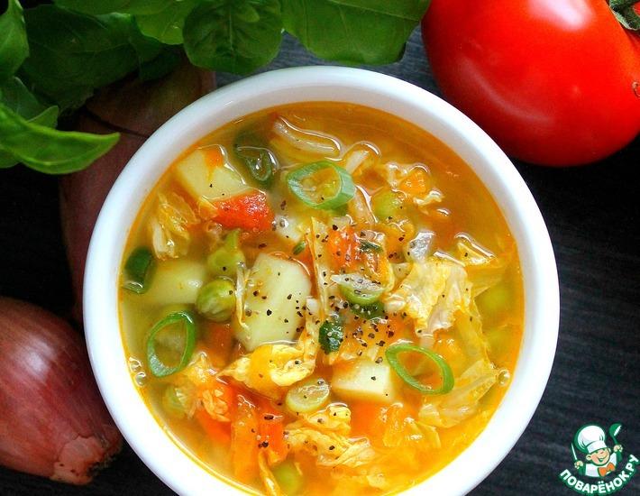 Рецепт: Суп из пекинской капусты с горошком