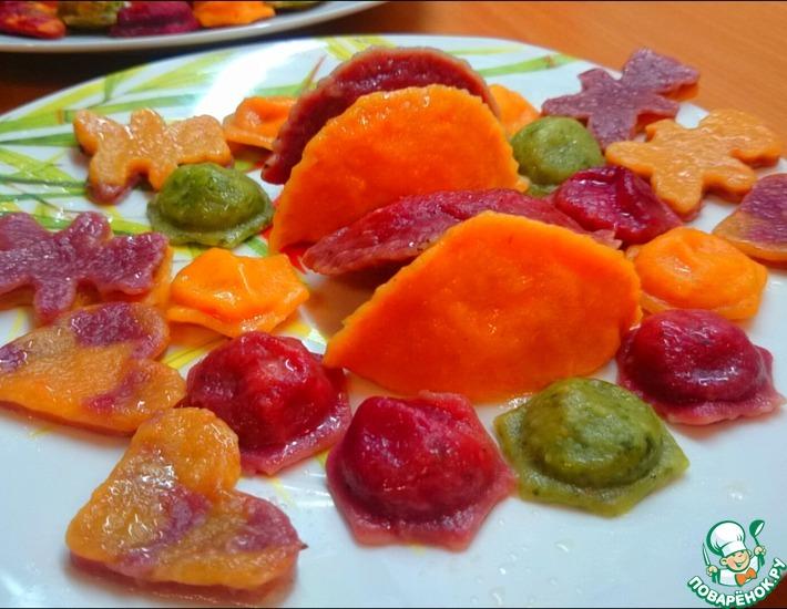 Разноцветные вареники из овощного теста