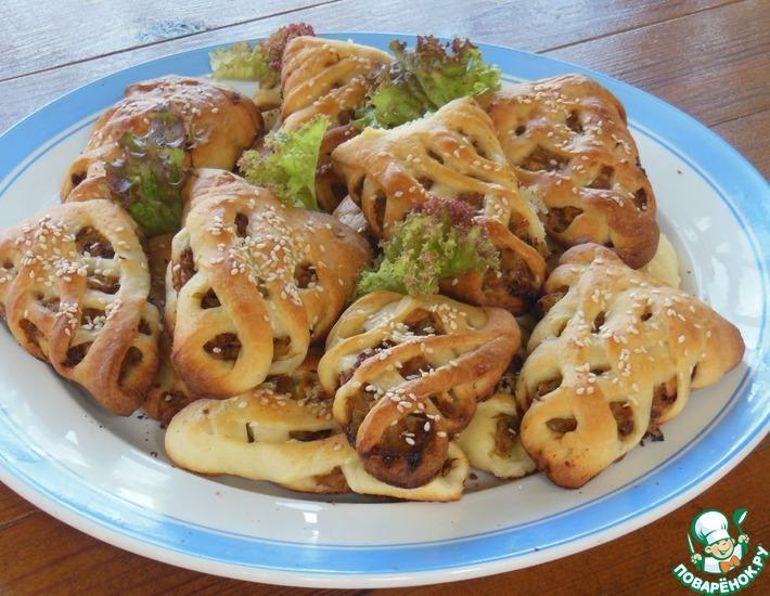 Рецепт: Пирожки творожные Плетёные