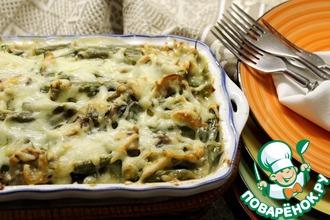 Рецепт: Запеченная зеленая фасоль с грибами