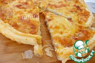 Рецепт: Пирог из слоеного теста с беконом