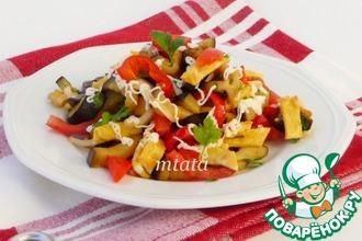 Рецепт: Салат из баклажана с яичными блинчиками
