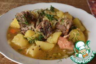 Рецепт: Тушеный картофель с мясом Папин
