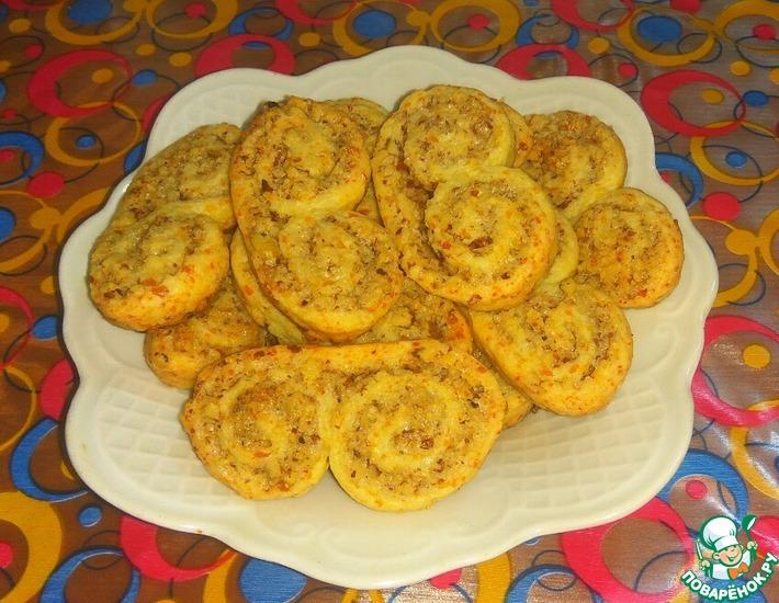 Рецепт: Творожное печенье с ореховой начинкой