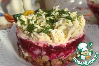 Рецепт: Печеночный салат со свёклой