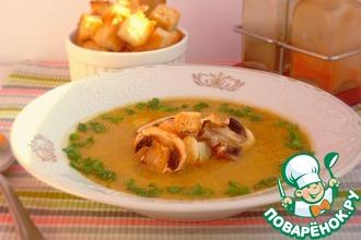 Рецепт: Суп-пюре с тыквой, фасолью и грибами