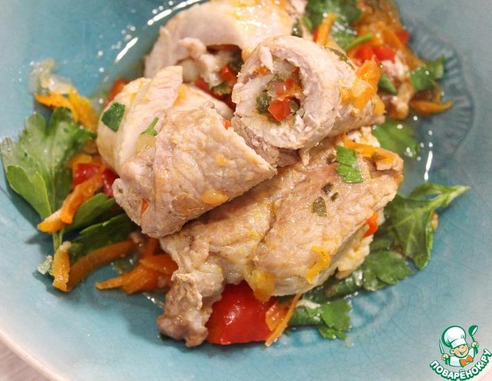 Рецепт: Тушеные мясные рулетики с овощами
