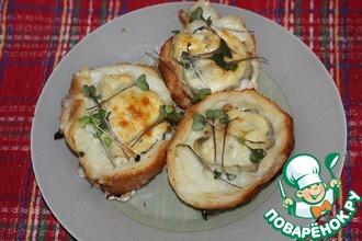 Рецепт: Хлебные гнезда с навагой