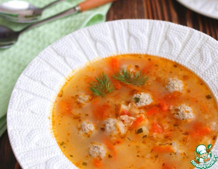 Рецепт: Суп с фрикадельками и овсяными хлопьями