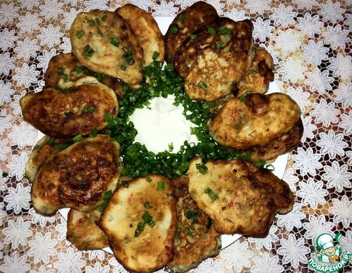 Рецепт: Оладьи с зеленью и крабовыми палочками
