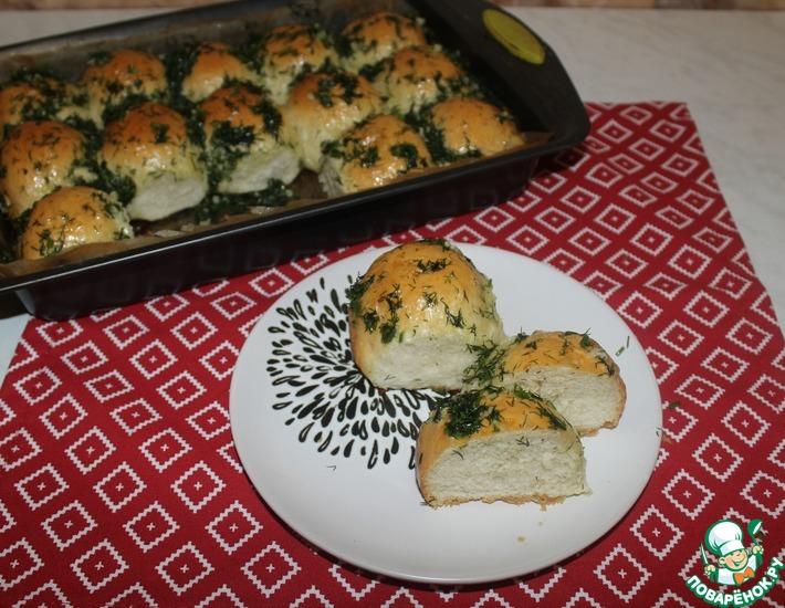 Рецепт: Пампушки с зеленью и чесноком