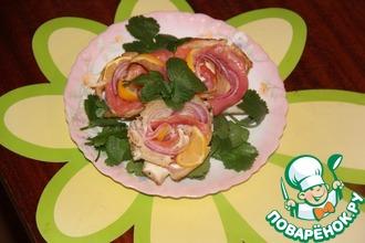 Рецепт: Блинные розы с форелью