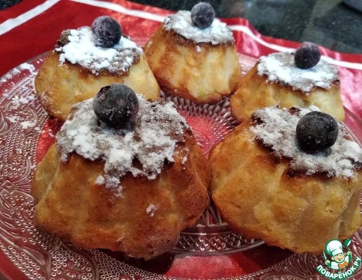 Рецепт: Творожные кексы с печеными яблоками