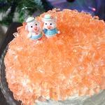 Бисквитный торт с персиками и желе