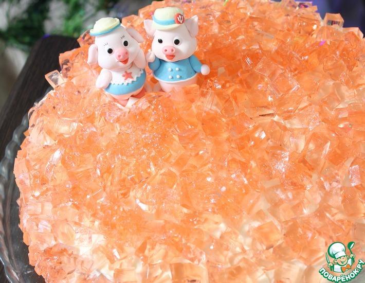 Рецепт: Бисквитный торт с персиками и желе