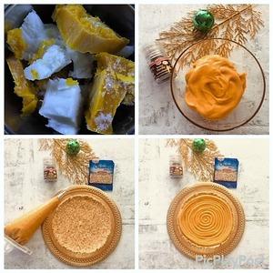 Готовим карамель:   В сотейнике с толстым дном подогреваем пюре маракуйи, манго и кокоса до 80-90С.    В другом сотейнике с толстым дном приготовм сухую карамель из сахара до 180-190С, нужно стараться чтобы сахар разошелся и карамелизировался равномерно. Можно помогать растворению сахара силиконовой лопаткой. Периодически снимать сотейник с огня, чтобы кусочки сахара растворялись от температуры жидкой части, таким образом наша карамель не сгорит.    Осторожно вылить теплое пюре в карамель и перемешать. Полученную массу пропустить через сито и остудить до 60С.   В стакан от блендера поместить шоколад и вылеть на него карамель 60С. При помощи погружного блендера делаем эмульсию. Когда температура эмульсии достигнет 40С, добавляем масло сливочное и пробиваем блендером.   Закрываем пищевой пленкой в контакт и отправляем в холодильник на 8 часов для стабилизации. Получается очень вкусная карамель - ее срок хранения до 3 недель в холодильнике. Ее можно приготовить и не для торта, а к примеру для блинов на завтрак.