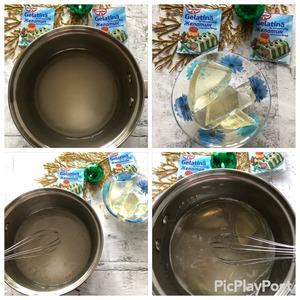 Зеркальная глазурь - ее также необходимо подготовить заранее, т. к. ей нужно время на стабилизацию 8 часов.   В сотейнике подогреть сахар, глюкозу и воду, до растворения сахара.   Снять с огня, добавить желатинову массу.