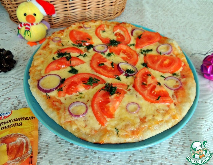 Рецепт: Пицца на бездрожжевом тесте Новогодняя