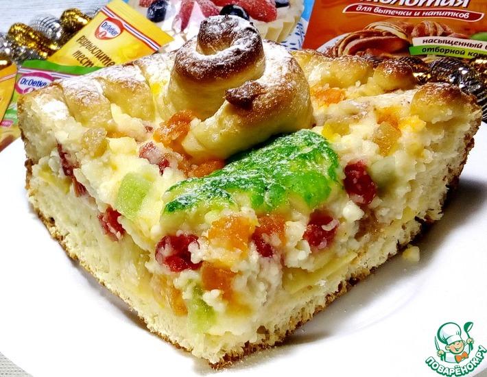 Рецепт: Яблочно-творожный пирог с цукатами