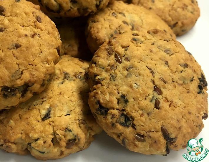 Рецепт: Овсяное печенье с черносливом и льном