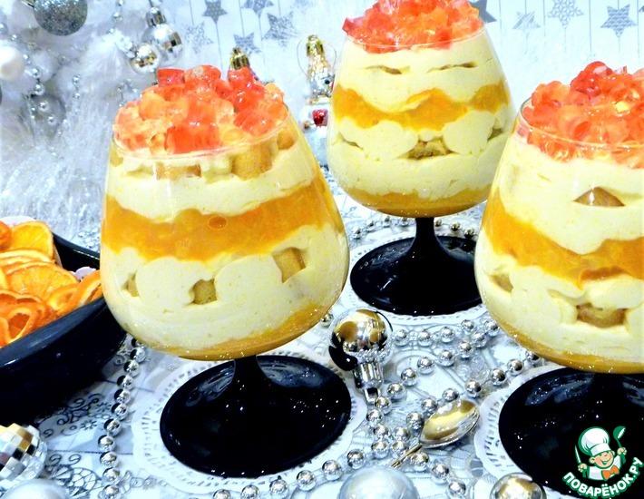 Рецепт: Сметанно-мандариновый десерт с желейными конфетти