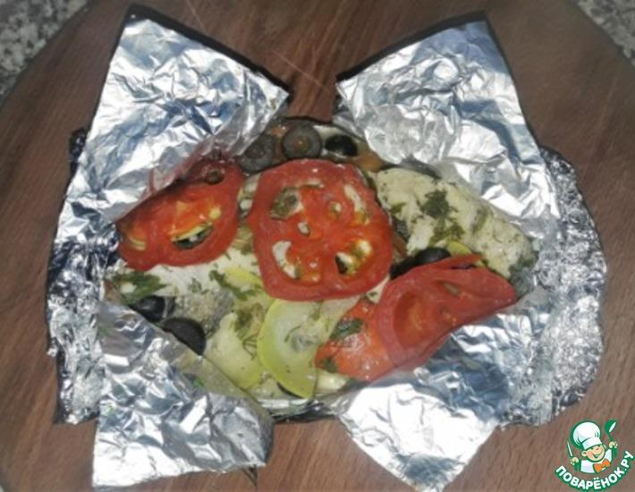 Рецепт: Судак с овощами в фольге