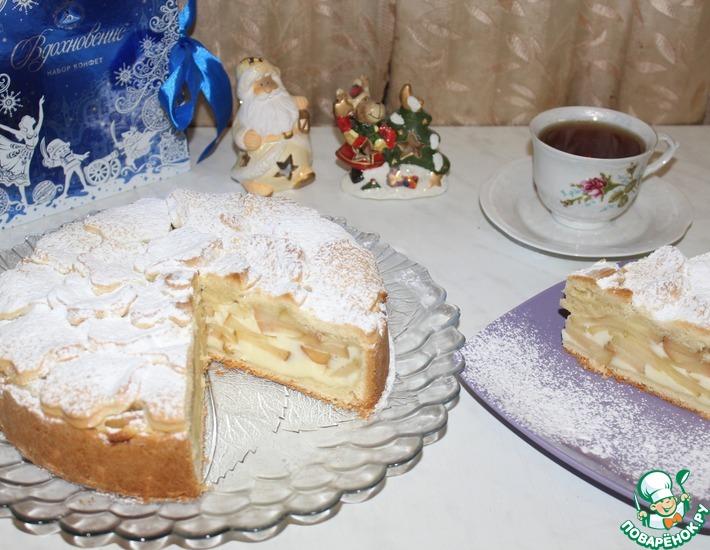 Рецепт: Пирог яблочный со сметанной заливкой