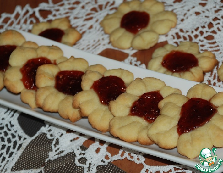 Рецепт: Сметанное печенье Цветочное