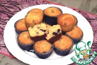 Рецепт: Творожные кексы с сушеной клюквой