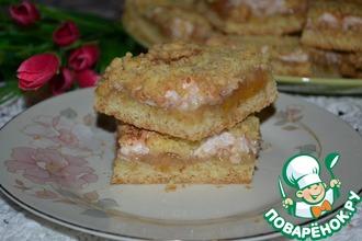 Рецепт: Тёртое пирожное с белково-грушевым кремом