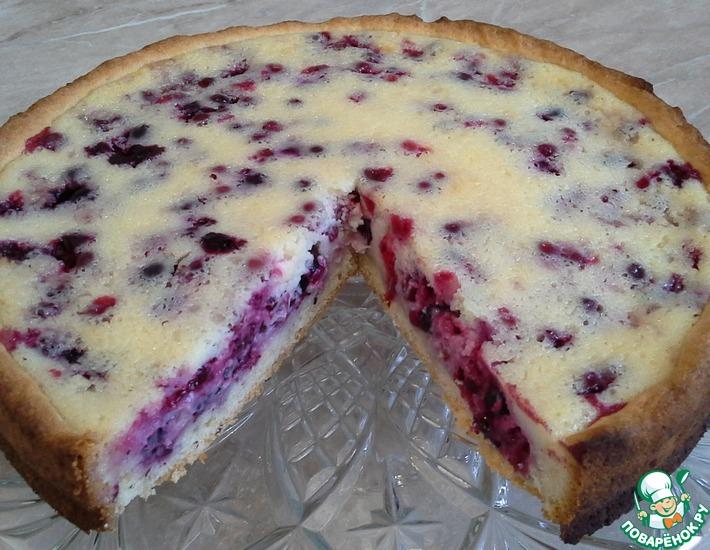 Рецепт: Ягодный пирог со сметанной заливкой