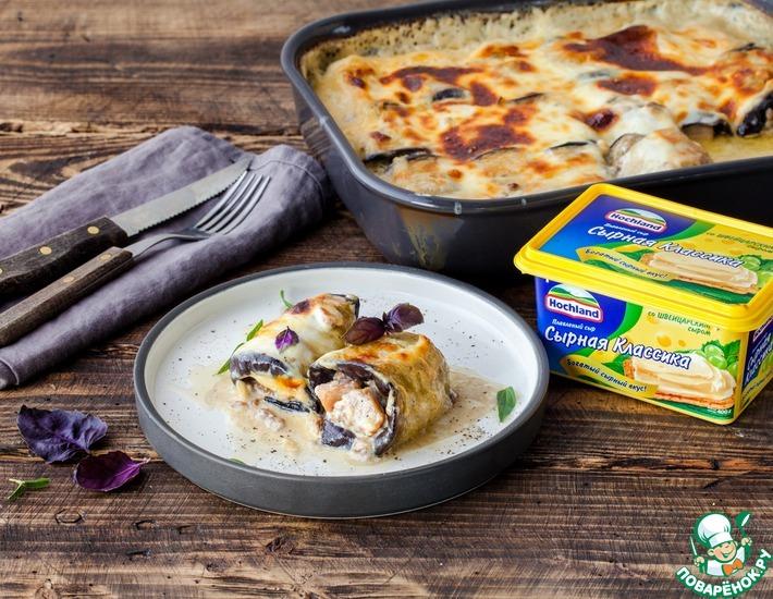 Рецепт: Рулетики из баклажанов с мясом в сырной заливке