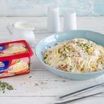 Спагетти с беконом и сырным соусом