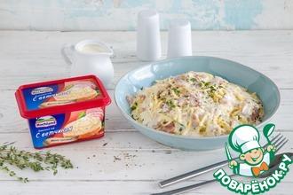 Рецепт: Спагетти с беконом и сырным соусом